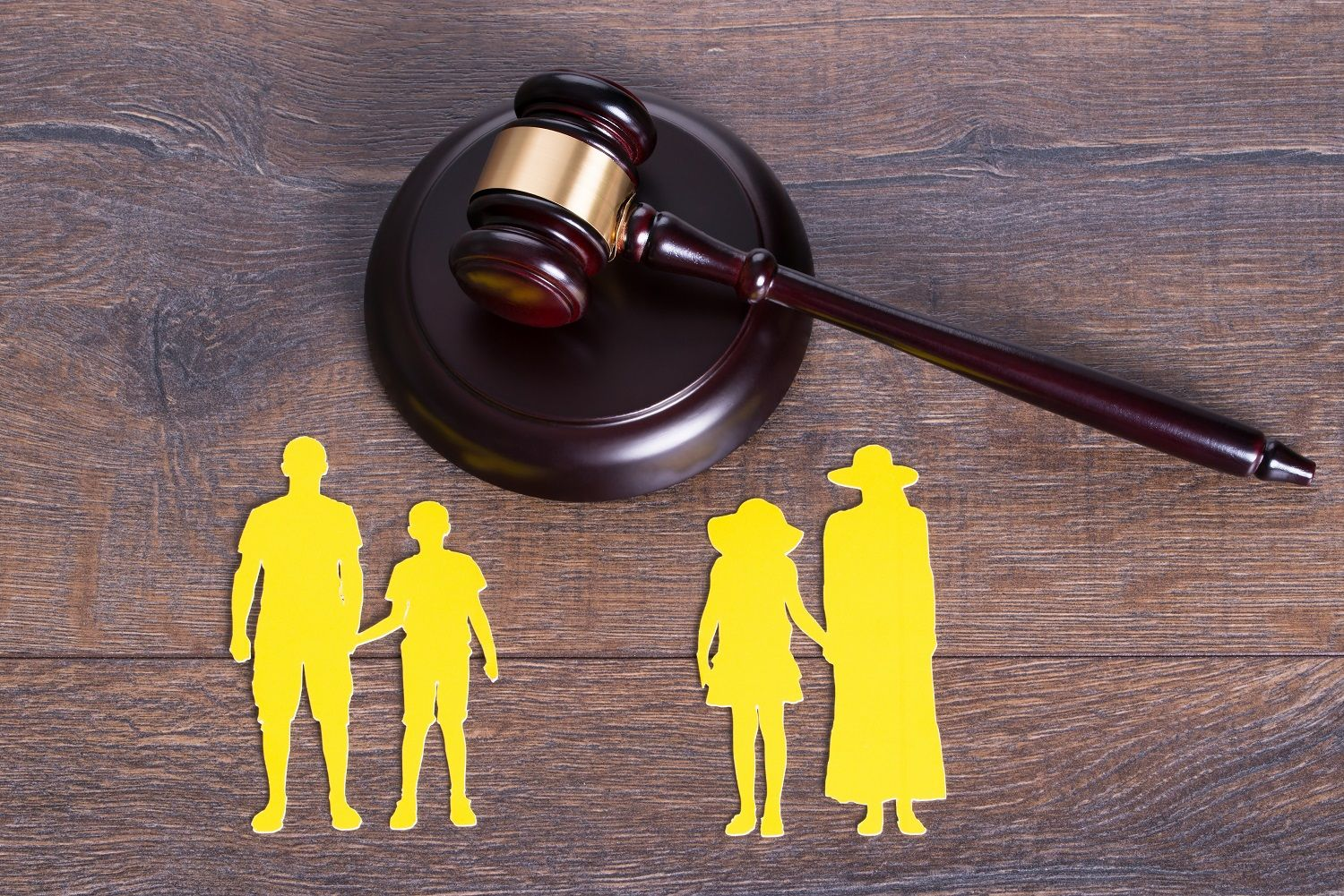 A family being separated in court